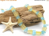 Beach Glass Necklace, Pale Blue and Yellow Sea Glass Necklace