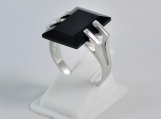 Black onyx ring, 92.5% solid sterling silver ring, onyx ring
