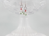 Candy cane colored loops beaded earrings red green white