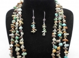 Chunky Turquoise Necklace, Bracelet, and Earring Set