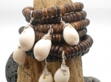 Coconut Heishi Bead Bracelet with White Cowrie Shell