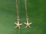 Gold Filled Long Delicate Dangle Tiny Starfish Earrings