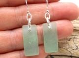 Pale Green Beach Glass Dangle Earrings