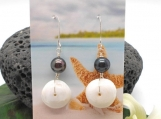 Puka Shell and Black Pearl Drop Earrings