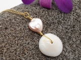 Puka Shell and Pink Pearl Neklace