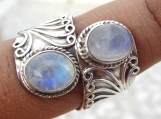 Rainbow moonstone ring, solid sterling silver ring, moonstone