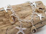 Sterling Silver Starfish and Cowrie Shell Bracelet