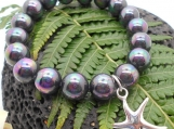 Tahitian Black Pearl Bracelet with Sterling Silver Starfish