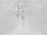Vintage pinwheel pink salmon button drop bead earrings