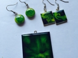 Green Ennamel Earrings Green Earrings Enamel Earrings Enamel Jewelry Green Jewelry