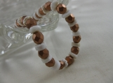 Copper Crystal and Off White Shell Bracelet