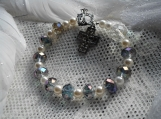 Amethyst AB crystal & pearl Rosary bracelet, silver cross