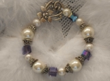 Amethyst crystal bracelet, pearls, silver floral toggle,beadcaps