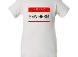 """Hello I'm New Here"" Baby White Creeper Baby Onesie"