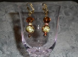 Ivory and bronze japanese Tensha bead earrings w/ bicones, topaz