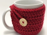 Mug Cozy, Crocheted Red Mug Cozy, Set of 2 Cup Cozies, Cup Cozy