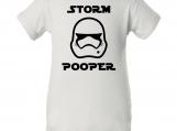 """""""Storm Pooper"""" White Creeper Baby Onesie"""