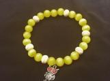 Yellow cat eye and Howlite bracelet