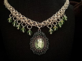 Chainmaille Designer Necklace Peridot