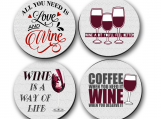 Coasters - Wine, Love, Red Wine, Hostess, Housewarming, Gifts