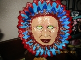 Hand Painted Hanging Mask-Red/Blue 10x8