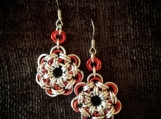 Japanese Chainmaille Earrings Red And Silver