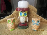 Owl Candle Holder & Owl Salt/Pepper Shakers