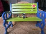 Wooden Bench-Hand Painted With Glass Fish- Green/ Blue