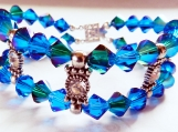 2 Row Bracelet, Swarovski Blue Crystals, Rhinestone Spacer Bars