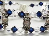 2 Row Bracelet, Swarovski Clear & Blue Indigo Crystal Bicones
