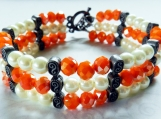 3 Row Bracelet, Orange & White Beads, Gun Metal Spacers, Toggle