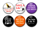 Animals, Pets, Rescue, Magnets, Lock back pins