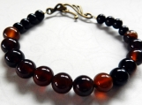 Black Agate Stone Bracelet, Black Glass Beaded Bracelet