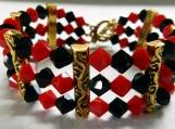 Black & Red Bicone Crystal Swarovski Bracelet, 3 Row Bracelet