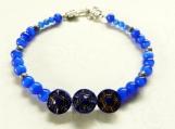 Bracelet, Blue Cat's Eye Beads, 3 Czech Cobalt Blue Buttons