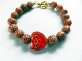 Bracelet Red Czech Gold Gilt Heart Wook Look Acrylic Beads