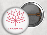 "Canada 150 Logo, Canadian Pin Back, Lock Back, 1.25"""