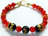 Carnelian Stone Bracelet, Black Asian Etched Gold Dragon Beads