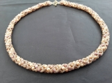 Hand beaded all glass bead necklace in champagne colours a bracelet is also available in my shop on here.