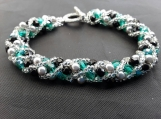 Hand beaded glass pearl and bead bracelet totally customable in large range of colours.