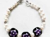 Jewelry Bracelet Purple Lamp Work Glass Beads Faux White Pearls