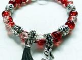 Jewelry Bracelet Red White Glass Speckled Beads Shoe Dress Charm