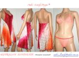 Silk nightie with peach lingerie set
