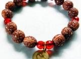 Stretch Bracelet, Wood Like Carved Heart Beads, Copper Heart