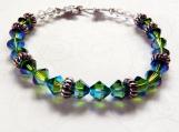 Swarovski Crystal Bracelet, Blue Green Beaded Bracelet