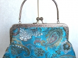 Teal Jacquard Clutch