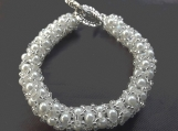 White pearl and crystal beaded bracelet perfect for bridal occasions and proms also customable in other colours