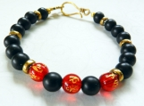 Asian Red Glass Gold Etched Beaded Bracelet, Unisex Bracelet