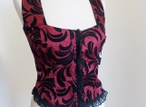 Burgundy and Black Corsetted Top - S,M,L