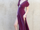 Burgundy Sparkle Grecian Dress ( S )